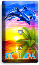 Florida Vacation Palm Dolphin Sunset Phone Telephone Wall Plate Cover Room Decor