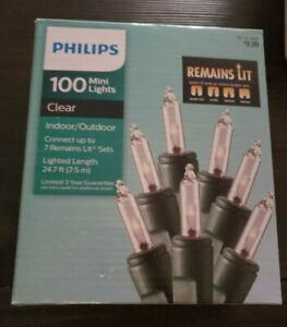 Philips 100ct Remains Lit Christmas Incandescent Smooth Mini String Lights