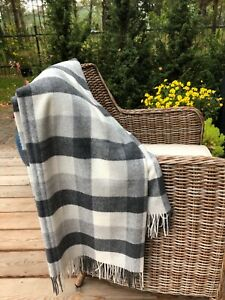 MERINO WOOL BLANKETS WITH CASHMERE, WOOL THROW, PLAID, SIZE 55 x75 In, ECO, NEW