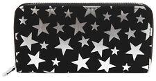 Damen Geldbörse Brieftasche Geldtasche Stern Sterne Schwarz weiß Quer Stars Star