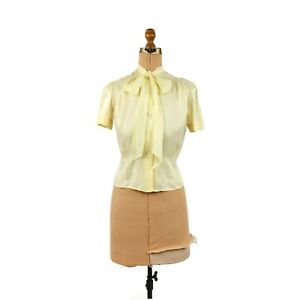 Vintage 40s Fruit of the Loom Semi Sheer Yellow Cream Nylon  Ascot Tie Blouse M