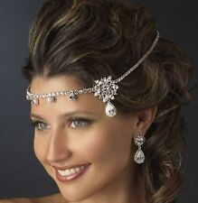 Tone Wedding Flower Dangle Crystal Headband Frontlet Bridal Tiara Prom Headdress