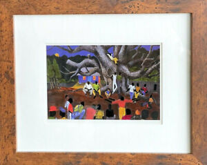 Jonathan Green TALES 1988 Framed Matted Art Print 9.5x11.5 Lowcountry Gullah