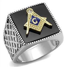 316 Stainless Steel Semi-Precious Agate Two-Tone Mason Masonic Mens Ring Size 11