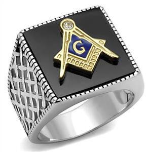 316 Stainless Steel Semi-Precious Agate Two-Tone Mason Masonic Mens Ring Size 9