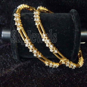 5.62CT NATURAL DIAMOND 14K SOLID YELLOW GOLD WEDDING ANNIVERSARY BANGLE PAIR