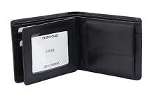 WOODBRIDGE RFID BLOCKING Mens Leather Wallet Purse With Coin Pocket 4002-BLACK