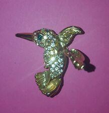 Gold-Tone Clear Swarovski Crystal Hummingbird Pin w/fluttering wing