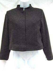 vtg Ann Taylor crop bolero jacket 6P stretch brn wool Asian mandarin collar MINT