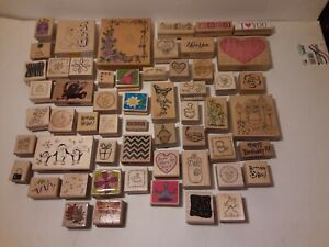 Craft Stamps Lot of 56 Rubber Scrapbooking *Used*  Assortment More See Pics