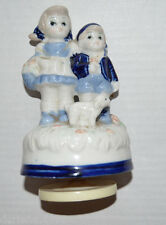 Blue White Girl & Boy & Lamb Glass Collector Decorative Figurine