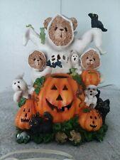 Haloween Ghost Teddy Bears Pumpkins Resin Light Up figure