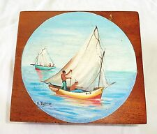 1980s Haitian Mahogany Covered Box w Painted Boat Motif by R. Dupiton (Stea)
