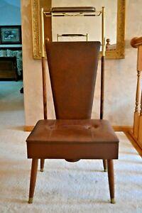 Mid Century Modern Vintage Pearl - Wick Brown Brass Butler Valet Dressing Chair
