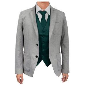 Dark Green Microfiber Casual Waistcoat Satin Vest Tie Set By Dan Smith DGDE0005