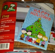"""Peanuts Snoopy Happy Holidays Large Flag 38"""" X 25"""" Linus Charlie Brown 2010 NEW!"""