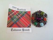 Fab Vintage Miracle Scottish Talisman Brooch Kilt Shawl Pin Chunky Multi Stoned
