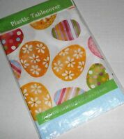 "EASTER Plastic Tablecloth DECORATED EASTER EGGS  54"" X 84"""