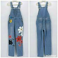 MissLook Denim Jean Painted Overall Bibs Flower Child Womens XL