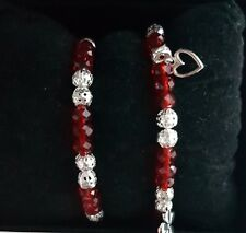 Handmade red crystal silver bracelet set with flower charm