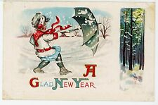 Girl w Umbrella Blown Away—Antique Embossed Snow Storm PC New Year Embossed~1910