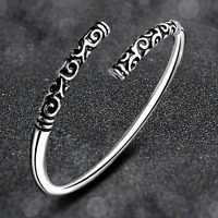 Fashion Charm Women 925 Silver Plated Carved Cuff Bangle Bracelet Jewelry Gift