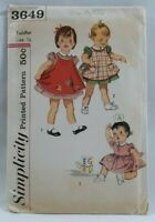 1950s Simplicity Sewing Pattern #3649 Toddler 1-Pc Dress & Apron Size 1/2 5402F