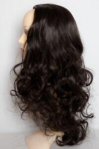 """Ladies 3/4 Half Wig Darkest Brown Curly 22"""" Heat Resistant Synthetic Hair"""