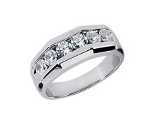 Natural 1.50ct Round Cut Mens Bridal Band Ring 950 Platinum G SI1 Channel Set