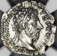 169/70 NGC AU Marcus Aurelius Denarius Diana Roman Empire (18040703C)