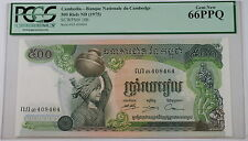 (1975) Cambodia 500 Riels Note SCWPM# 16b PCGS 66 PPQ Gem New