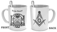 Freemason coffee mug - Freemasonry Know Thyself cup - Masonic accessories gift