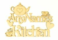 Personalised Kitchen Wooden MDF Craft Sign With Teapot & Teacup Mothers Day Gift