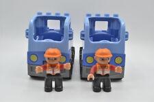 LEGO DUPLO 2 x Transport Paketwagen Baustelle blau mit 2 x Figuren