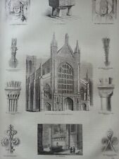 ANTIQUE PRINT C1860'S WINCHESTER CATHEDRAL RELIGIOUS ARCHITECTURE ENGRAVING ART