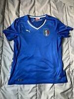 OFFICIAL Puma Italy ITALIA FIGC Jersey Shirt Top Blue White Mens Sz Large