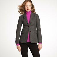 J.Crew Blazer Womens Size 6 Gray Hacking Herringbone Two Button Wool Jacket