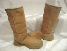 WOMENS UGG AUSTRALIA SIZE 8 ULTIMATE TALL II TAN SUEDE SHEEPSKIN BOOTS 5238