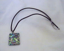 """Rectangle abalone shell pendant 18KGP bale on black cord 18"""" necklace"""