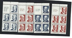 MINT 1972 PRIME MINISTERS STAMP BOOKLET PANES SET OF 4