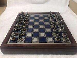 Franklin Mint 1983 Civil War Chess Set Pewter/Brass Blue & Gray Pieces