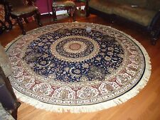 Persian Silk Rugs 6' Round Rugs Navy Silk Rug Circle Blue Carpet Tabriz 5'x5'