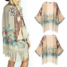 Women Blouse Floral Chiffon Top Tassel Fringe Shawl Kimono Cardigan Coat Jacket