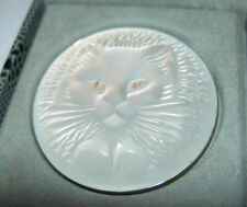 RARE Authentic LALIQUE Cat Chat Satin Clear Crystal Pin Brooch New Original Box