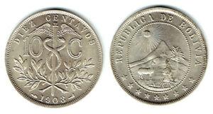 BOLIVIA 1908 & 1909 COPPER-NICKEL 10 CENTAVOS (KM#174.3) BRIGHT WHITE CH BU