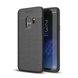 Leder-Optik Silikon Schutz Hülle Tasche Handy Case Handyhülle Cover Schwarz Matt