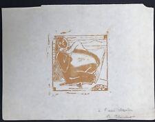 Original Engraving Wood Engraved Female Nude Per Alexander Blanchet Fbh 44 Nabis