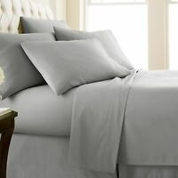 **FREE DELIVERY**Fitted/Flat/Pillow 100% EgyptianCotton 1000 TC Light Grey Solid