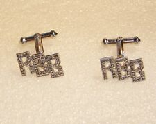 STERLING SILVER RBB CUFF LINKS WITH MARCASITE 556-L
