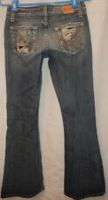 BKE Buckle Destroyed Distressed 100% Cotton Element Boot Cut Jeans Size 26 x 30